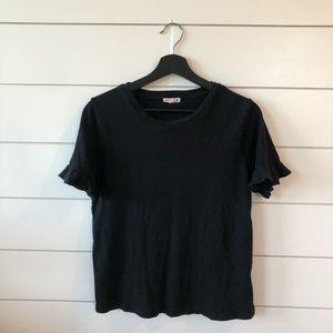 0 sundry black shirt with ruffle sleeves